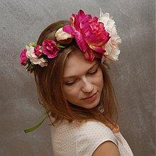 Ozdoby do vlasov - Peony garden collection ... věnec - 3771216_