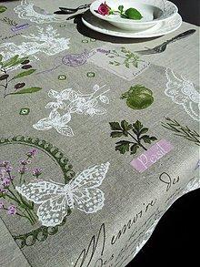 Úžitkový textil - Ľanový obrus a štóla Provence - 3793393_
