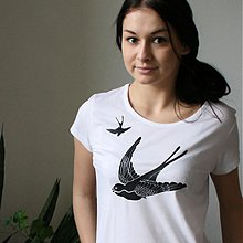 Tričká - Lastovičie (krátke, biele tričko) - 3828016_