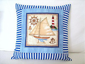 Úžitkový textil - Kapitáne kam s tou lodí ? - polštářek námořnický - 3833214_