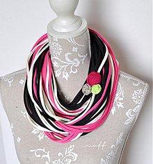 Šály - špagetky smotanová, ružová, grafitová - 3947779_