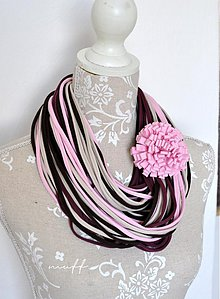 Šály - špagetky ružová, baklažánová, béžová, hnedá - 3947871_