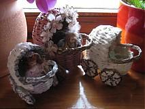 Dekorácie - retro kočiariky s bábikami - 4019976_