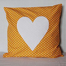 Úžitkový textil - Obliečka Oranžová bodkovaná s čistým srdcom - 4087277_