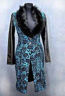 Kabáty - Flaušový kabát s kožušinou-ZĽAVA 30 %!!! - 4106567_