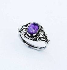 Prstene - Amethyst arts & crafts ring - 4161571_