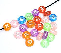 Korálky - Korálky abeceda priehľadné farebné (balíček 200ks) - 4193371_