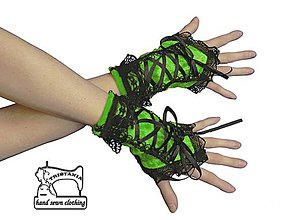 Rukavice - Dámské rukavičky s korzetovým šnurovaním 1340 - 4224710_