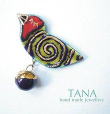 Odznaky/Brošne - Tana šperky - keramika/zlato, Jasmine - 4227216_
