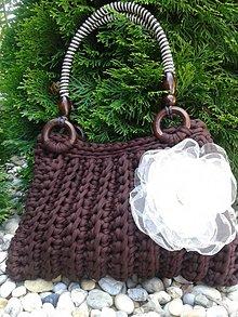 Kabelky - Hnedá háčkovaná kabelka - 4316167_