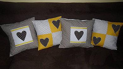 Úžitkový textil - žlto-hnedá srdiečková kolekcia - 4353647_