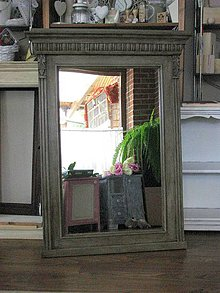 Zrkadlá - Starožitné drevené zrkadlo - 4378396_