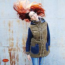 Kabáty - hnědá manšestrová parka kombinovaná s riflovinou - 4449008_