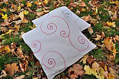 Úžitkový textil - Ľanová návliečka na vankúš - Špirálky - 4602230_
