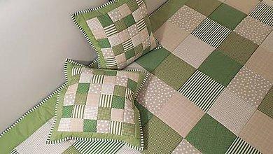 Úžitkový textil - patchwork obliečka 40x40 cm olivovo zelená s béžovou  - 4614306_