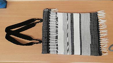 Kabelky - Tkaná taška čiernobiela - 4629179_