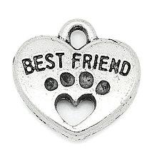 Komponenty - Prívesok srdiečko BEST FRIENDS - 4657031_