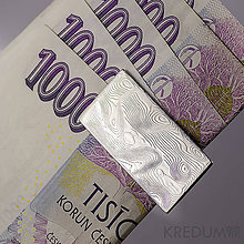 Peňaženky - Kovaná spona na bankovky, nerezová ocel damasteel - číslo 1132 - 4709531_