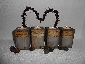 Svietidlá a sviečky - Drevené vintage svietniky - 4785930_