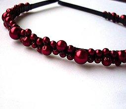 Ozdoby do vlasov - Bordové perličky - 4791744_