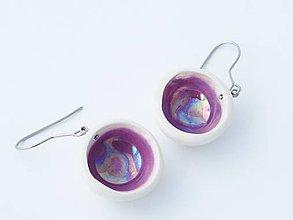 Náušnice - misky fialové - 4814205_