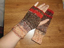 Rukavice - Hnedo-červené melírované rukavičky - 4862931_