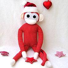 Hračky - opička červená gulička - 4872944_