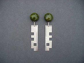 Náušnice - Tabatierky (tmavozelené) - 4889421_
