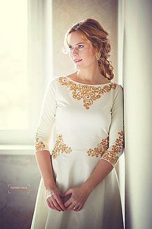 Šaty - Biele šaty s maľbou... - 4942373_