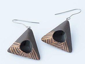 Náušnice - trojuholníky pásavé - 4974506_