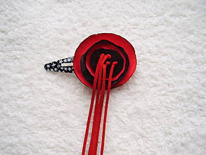 Ozdoby do vlasov - Sponka koženo-textilná, malé čertíča - 4982571_