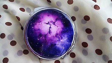Zrkadielka - Zrkadielko kabelkové s galaxy motívom - 4991068_