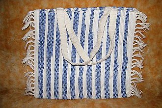 Kabelky - Tkaná taška modro-biela - 5010741_