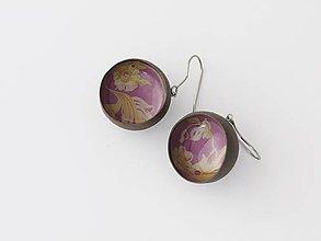 Náušnice - guľky fialovo kvetové - 5016064_