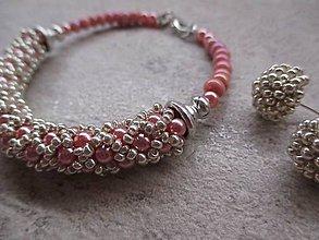 Náramky - náramok ružovo - strieborný 1 - 5074886_