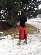 Sukne - čiernočervená nožohrejka ,maxi sukňa - 5073991_