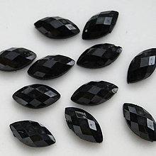 Korálky - Kabošon plast 10x5mm-čierna-1ks - 5083937_
