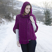 Svetre/Pulóvre - Pohodový svetrík purpur s kapucňou - 5125618_