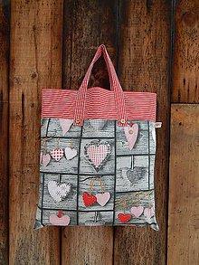 Nákupné tašky - Nákupná taška- srdiečková červená - 5144550_