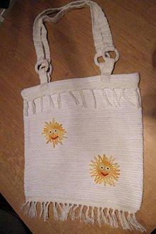 Kabelky - Tkaná taška biela so slniečkami - 5198510_