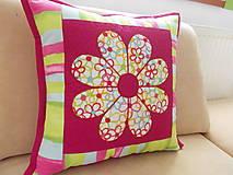 Úžitkový textil - Vankúšik s kvetinkou - 5210392_