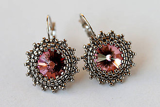 Náušnice - SW Antique Pink - náušnice - 5222187_