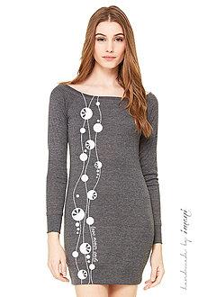 Šaty - Dámske mini šaty sivý úplet dlhý rukáv LOVE NEVER ENDS - 5222446_