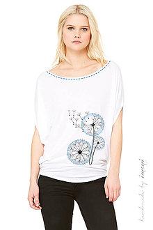 Tričká - Dámske tričko oversized krátky voľný rukáv biele ručne obšité... PÚPAVA - 5239345_