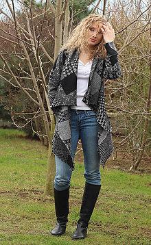 Kabáty - Černošedý kardigan - 5262347_