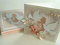 - Pohľadnica svadobná - Holubice (s krabičkou) - 5266299_