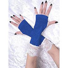 Rukavice - Rukavice modré s čipkou 1095 - 5281188_