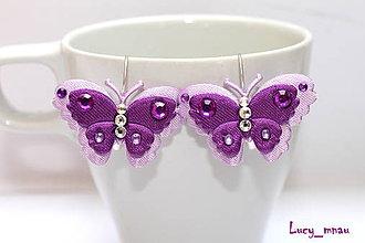 Náušnice - Náušničky motýlikové-fialové :) - 5289089_