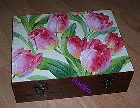 Krabičky - 12 priečinková krabica nielen na čaj tulipánová - 5357610_