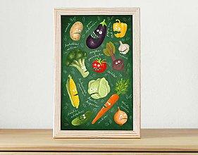 Obrázky - Zelenina - ilustrácia v drevenom ráme - 5394052_